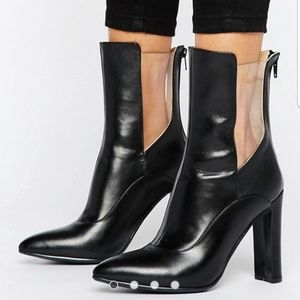 Lavish Alice Leather High Ankle Boot w Clear sz 8